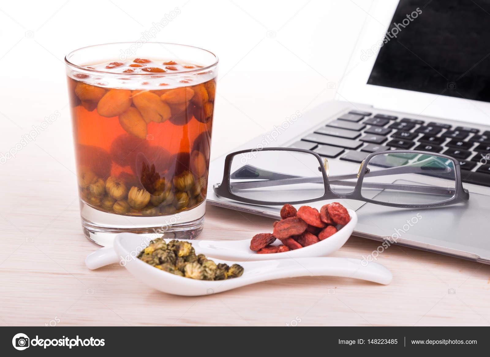 Goji Berries Or Wolfberry Chrysanthemum Tea Remedy To Improve E Stock Photo C Thamkc 148223485