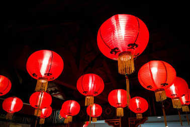 Red lanterns for good luck lit during Chinese New Year