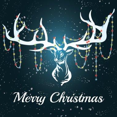 Vector deer. White silhouette. Marry Christmas