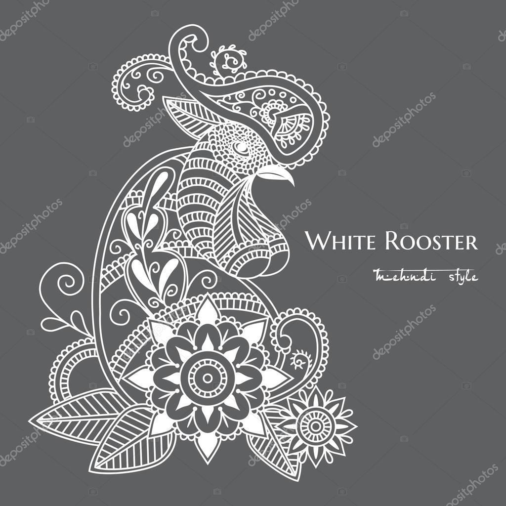 Vector mehendi. White rooster mehendi.