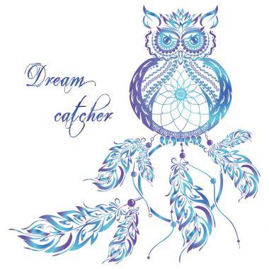 Vector dream catcher owl. Blue background.