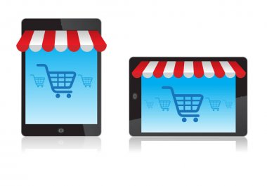 Tablet with awning and basket on line shop, e-commerce ideas, Vector illustration