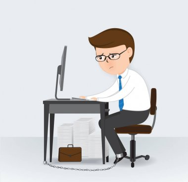 Businessman chained to the office desk, Business Concept, cartoon character, vector