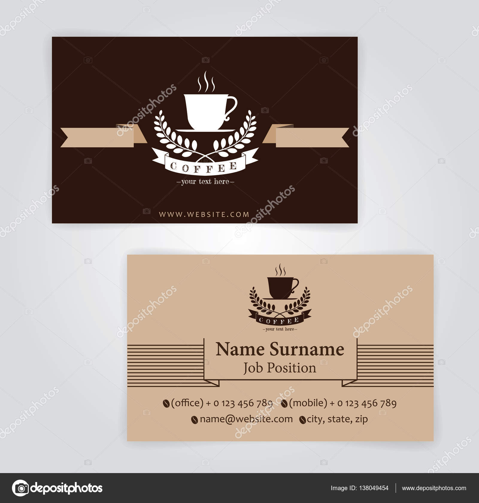 business card coffee template, For Coffee shop — Stock Vector ...