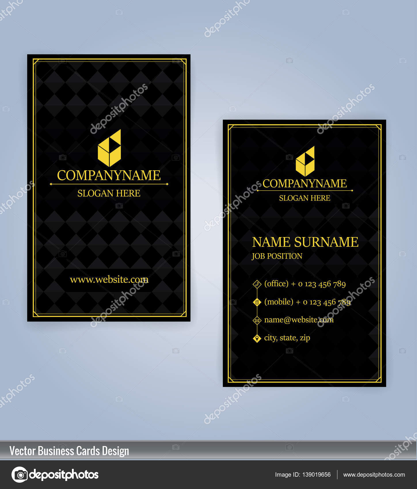 Yellow And Black Modern Business Card Vertical Template