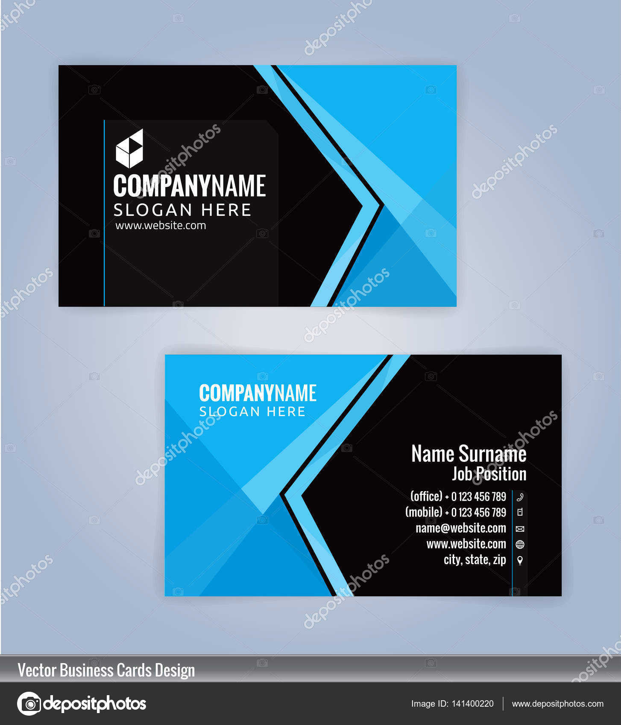 Blau und schwarz moderne Visitenkarte Vorlage, Illustration Vektor ...