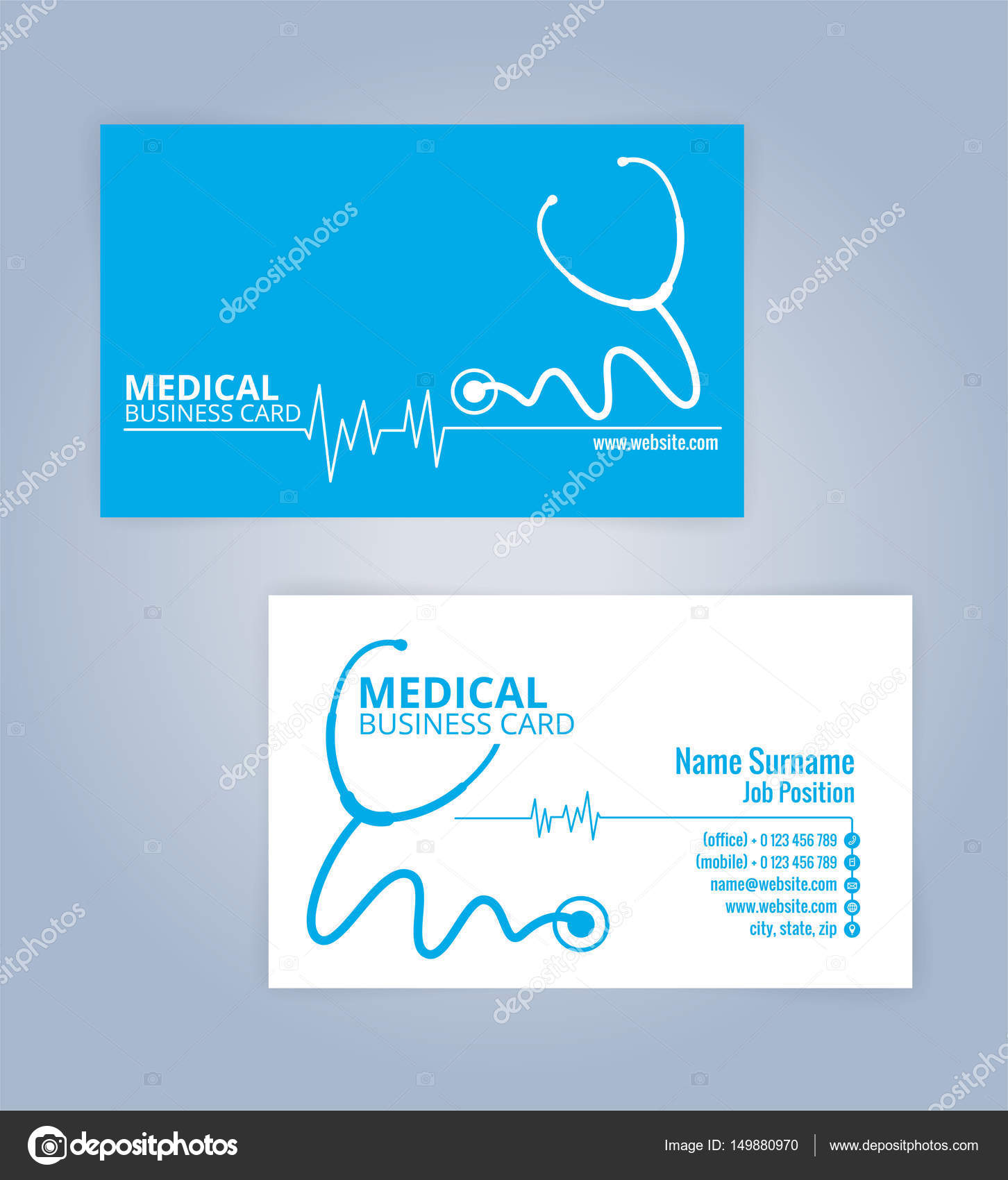 Blue and white modern business healthcare medical card template blue and white modern business healthcare medical card template illustration vector 10 reheart Image collections