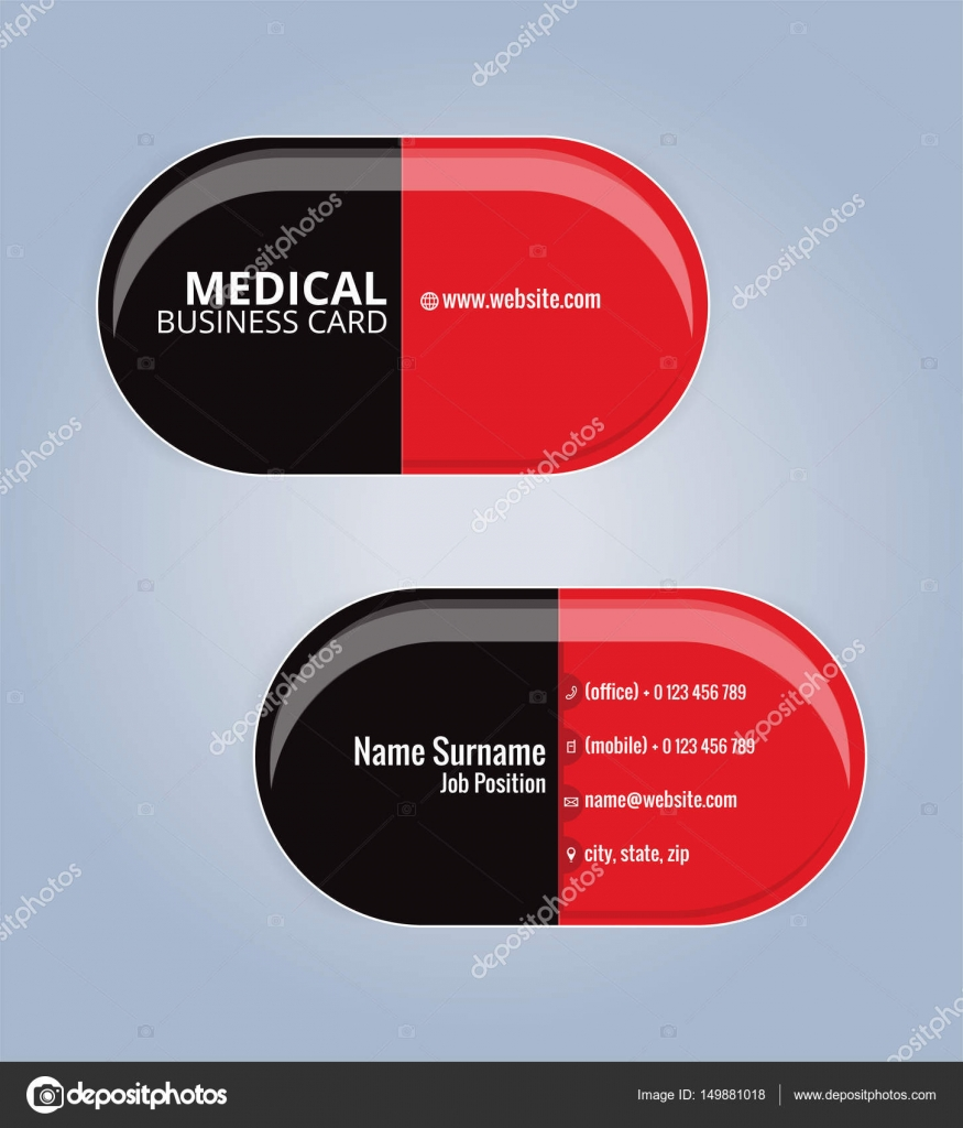 Red and black the drug capsules business card template healthcare red and black the drug capsules business card template healthcare medical card template reheart Images