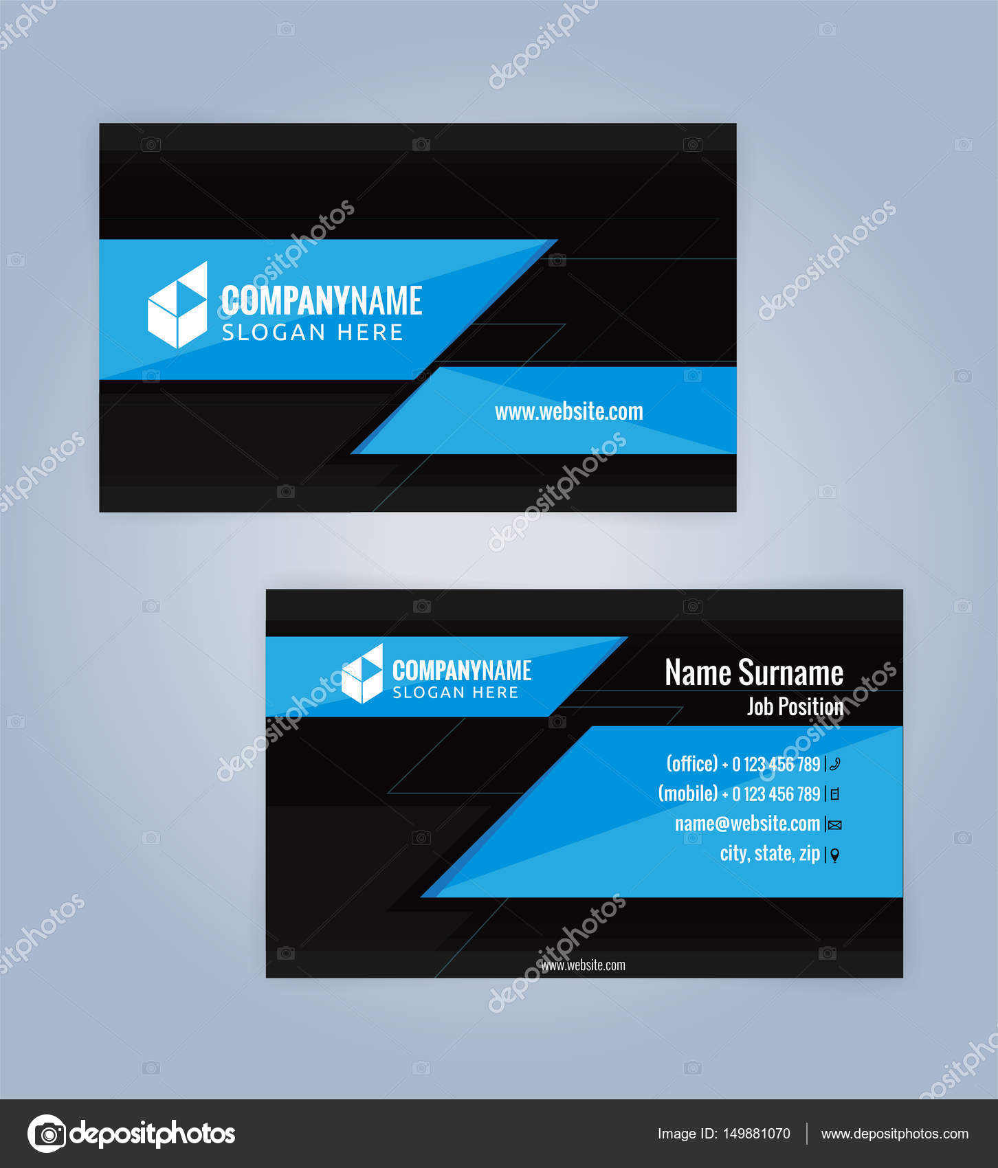 Blue and black modern business card template stock vector keangs blue and black modern business card template stock vector reheart Choice Image