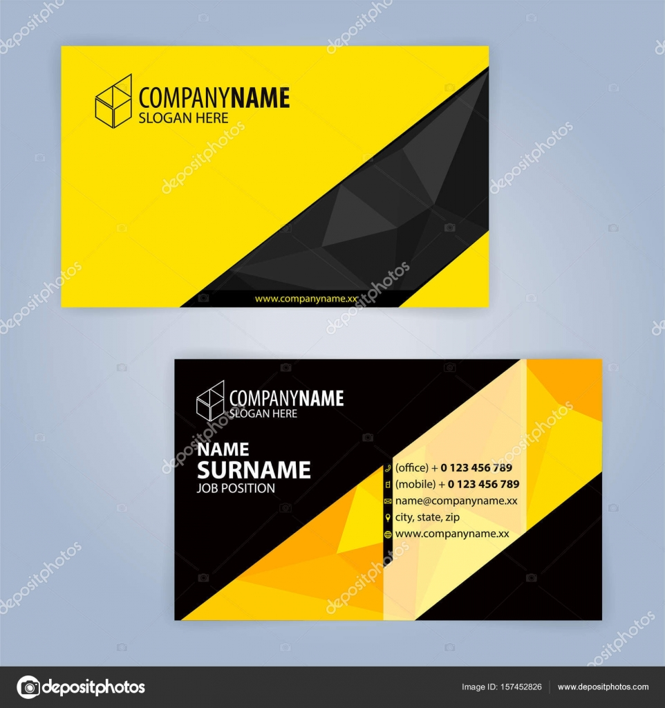 business card template yellow and black illustration vector10