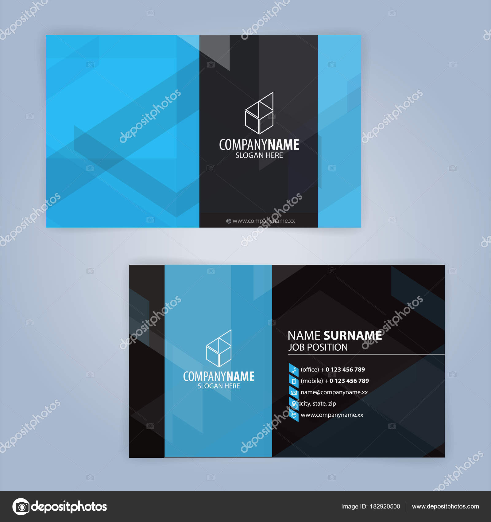 Blue black modern business card template illustration vector stock blue and black modern business card template illustration vector 10 vector by keangs reheart Images