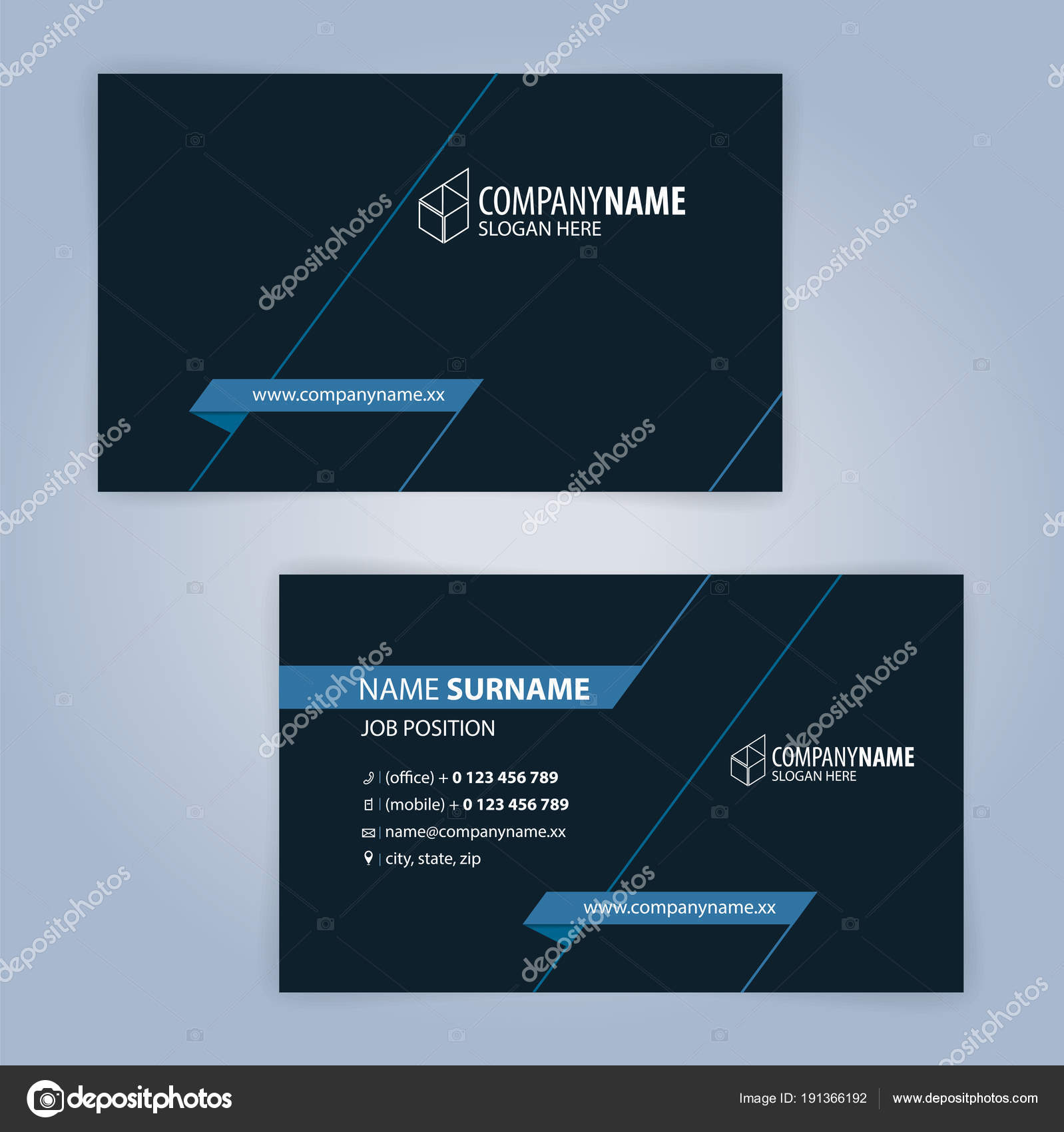 Blue black modern business card template illustration vector stock blue and black modern business card template illustration vector 10 vector by keangs reheart Gallery