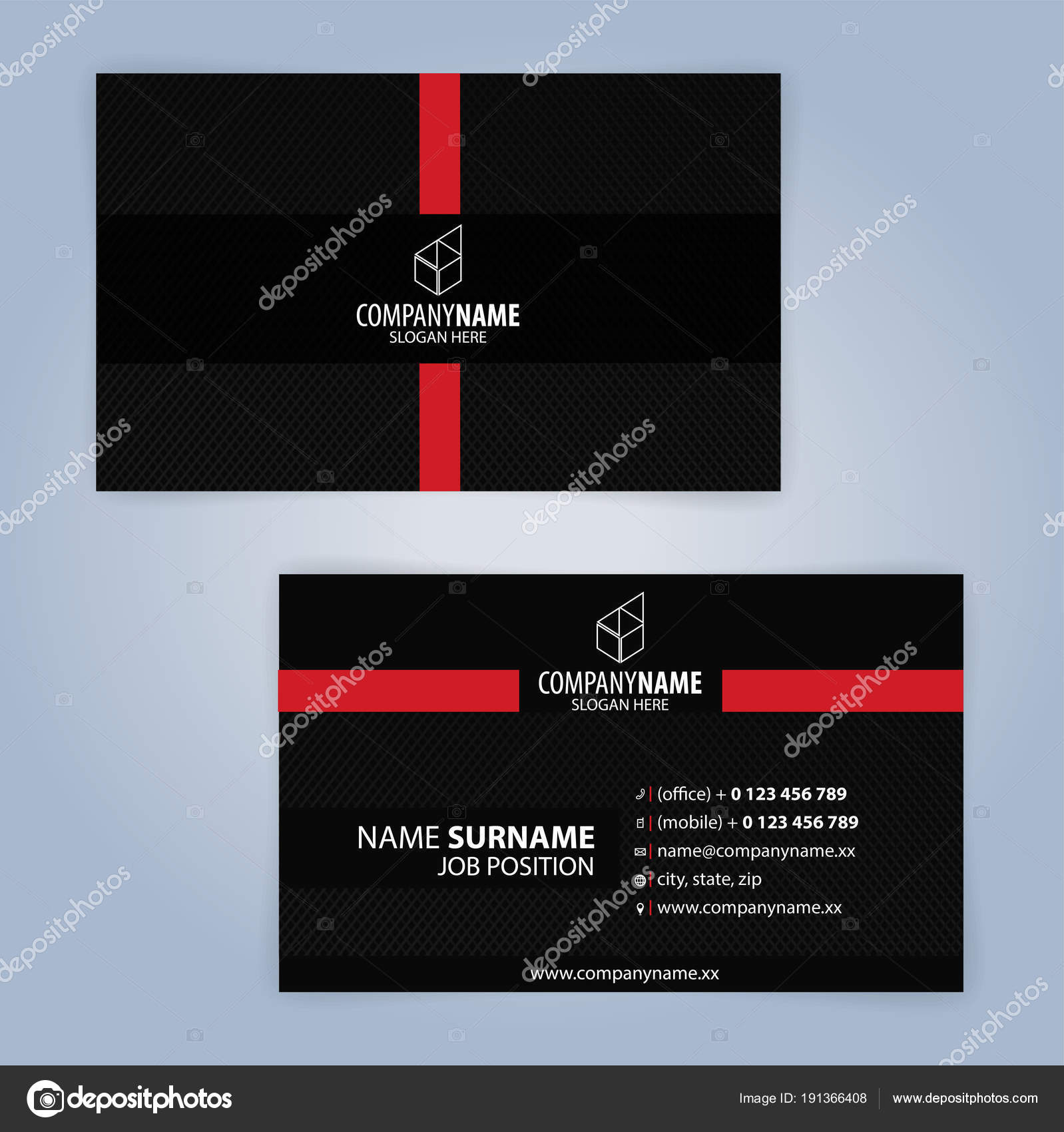 business card template red black illustration vector10 stock