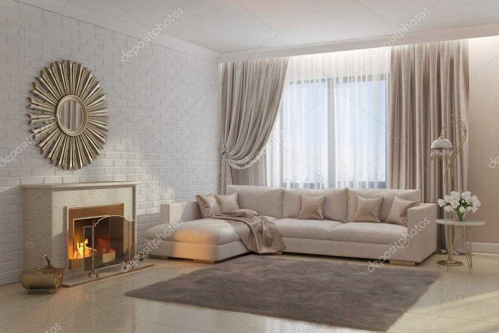 Lichte en gezellige woonkamer met openhaard en spiegel — Stockfoto ...