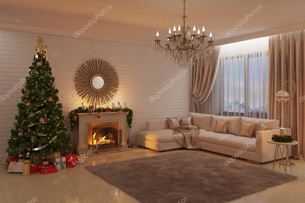 Weihnachten-Wohnzimmer mit Kamin, Baum und Geschenke ...