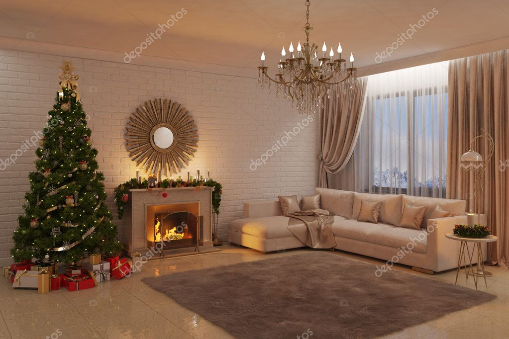 Boom In Woonkamer : Kerst woonkamer met open haard boom en geschenken u2014 stockfoto