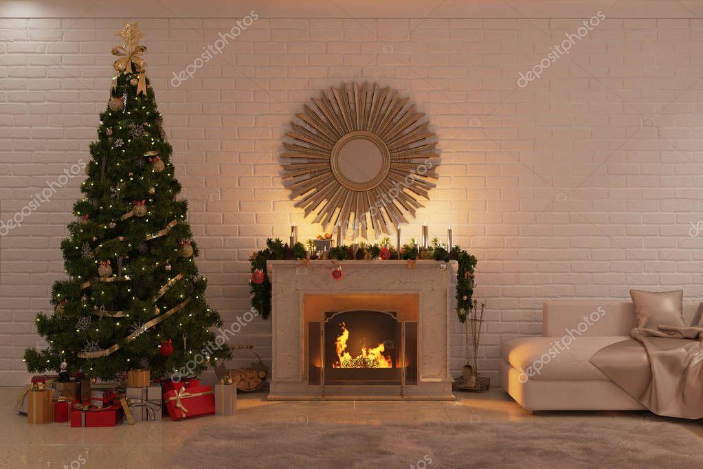 3d illustratie van kerst woonkamer met open haard boom en geschenken foto van gamespiritlife