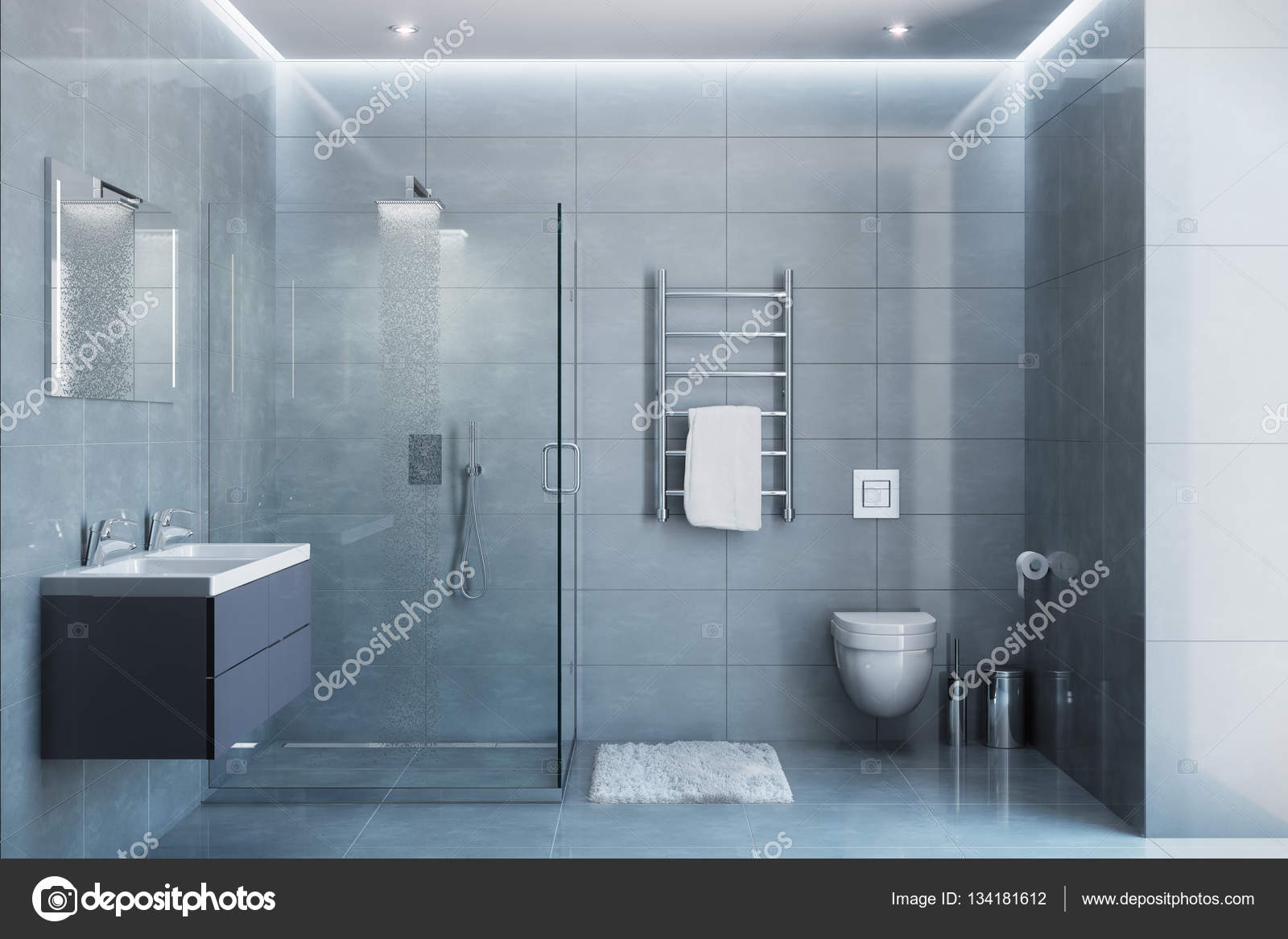 Gray modern shower room in the daylight — Stock Photo ...