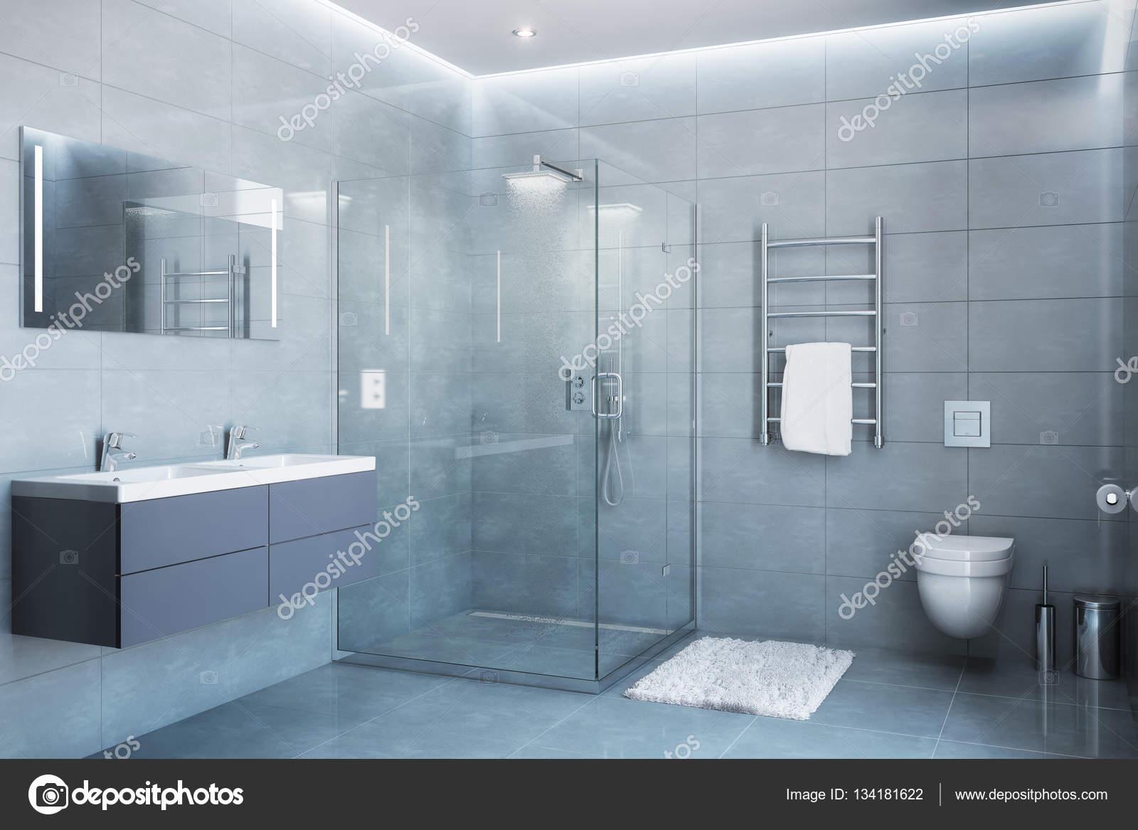 Bagno con doccia moderno grigio alla luce del giorno - Bagno moderno grigio ...