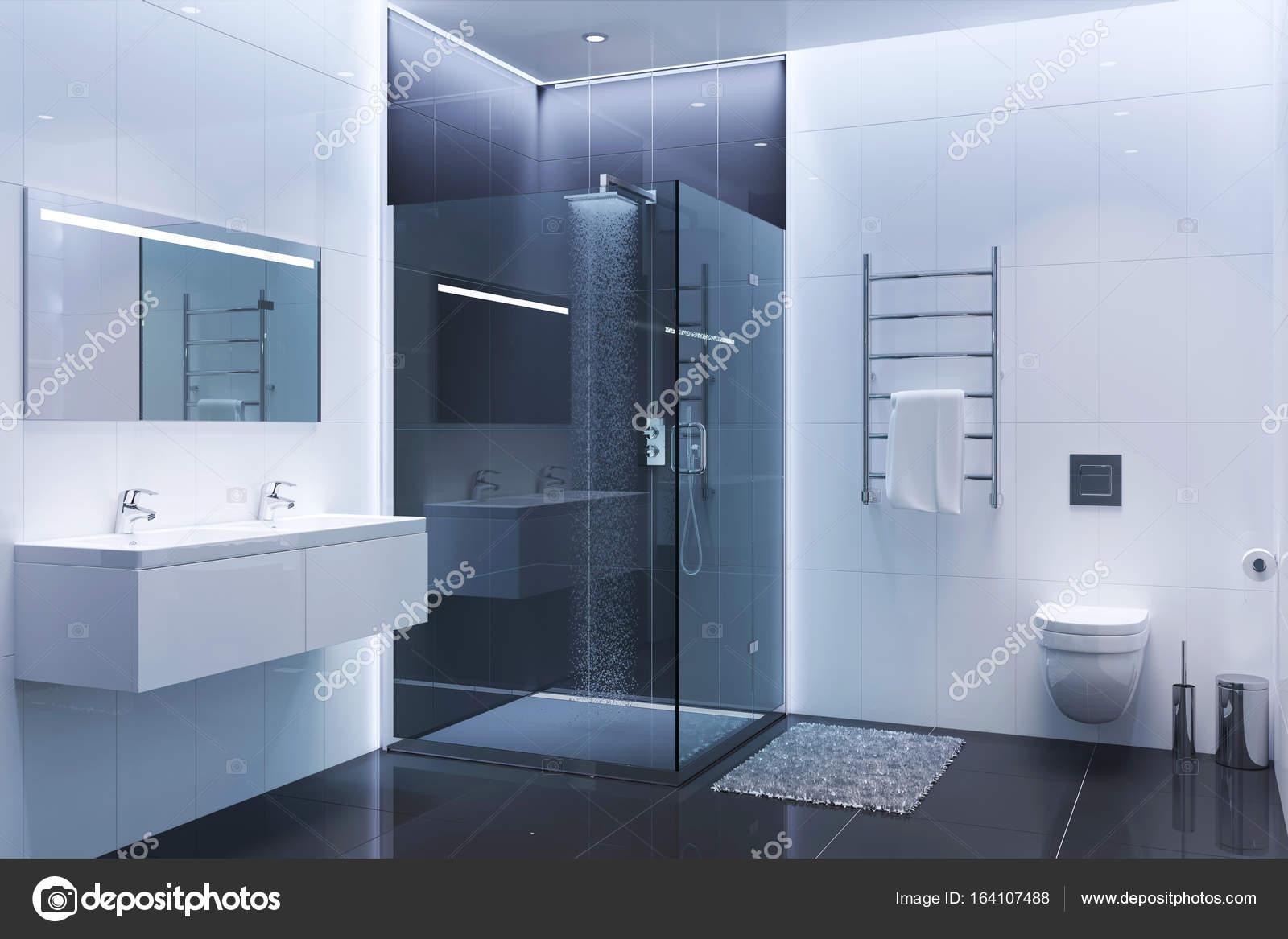 schwarz / weiß moderne dusche am abend — stockfoto © gamespiritlife