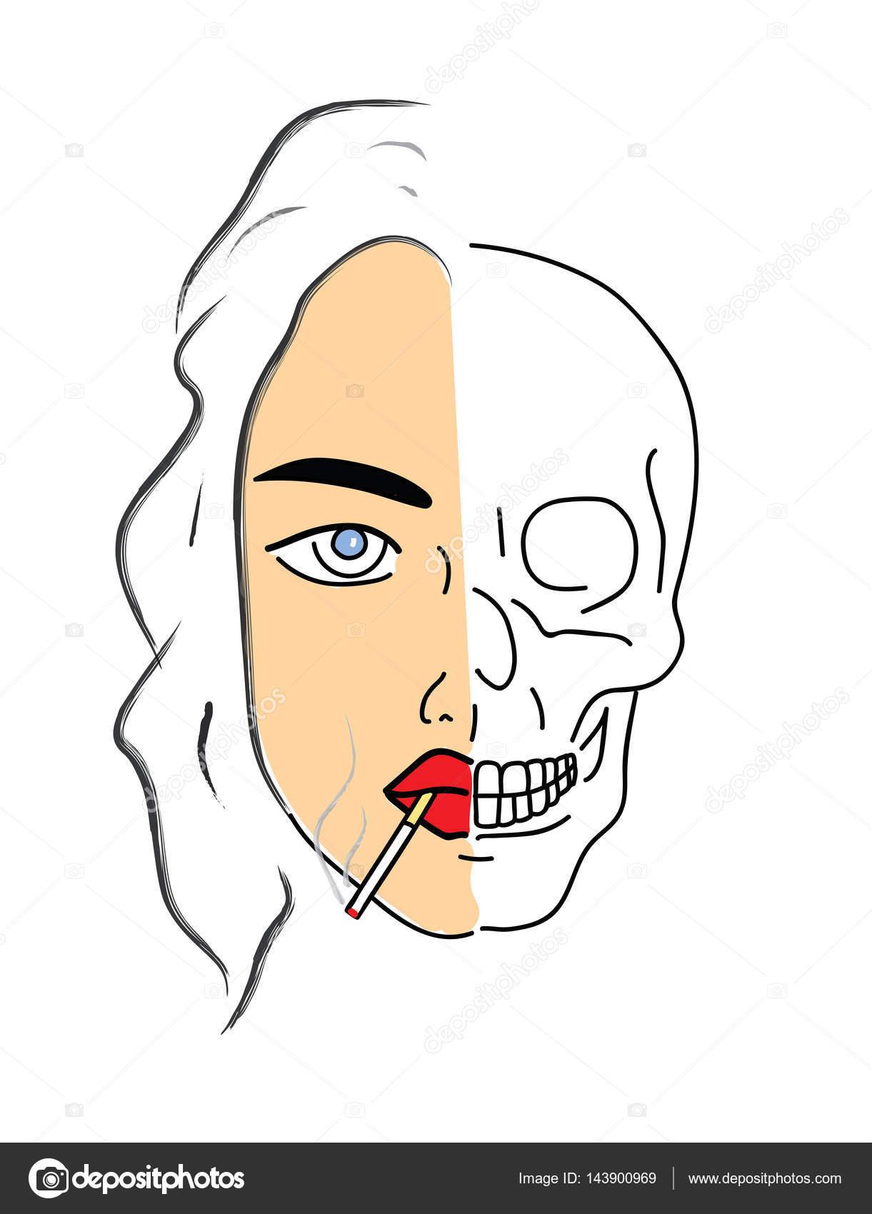 fumar mata. mujer fumando un cigarrillo y el cráneo se convierte ...