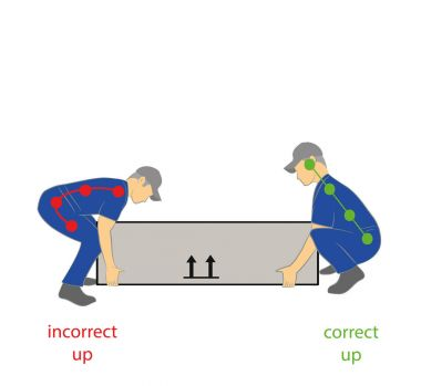 Correct posture for the safe lifting of a heavy object. Health care. Hand drawn cartoon vector illustration for design and infographics.