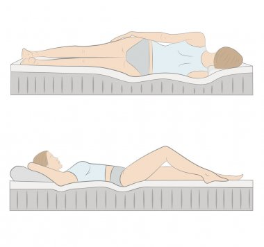 correct sleeping position on her side. vector illustration.