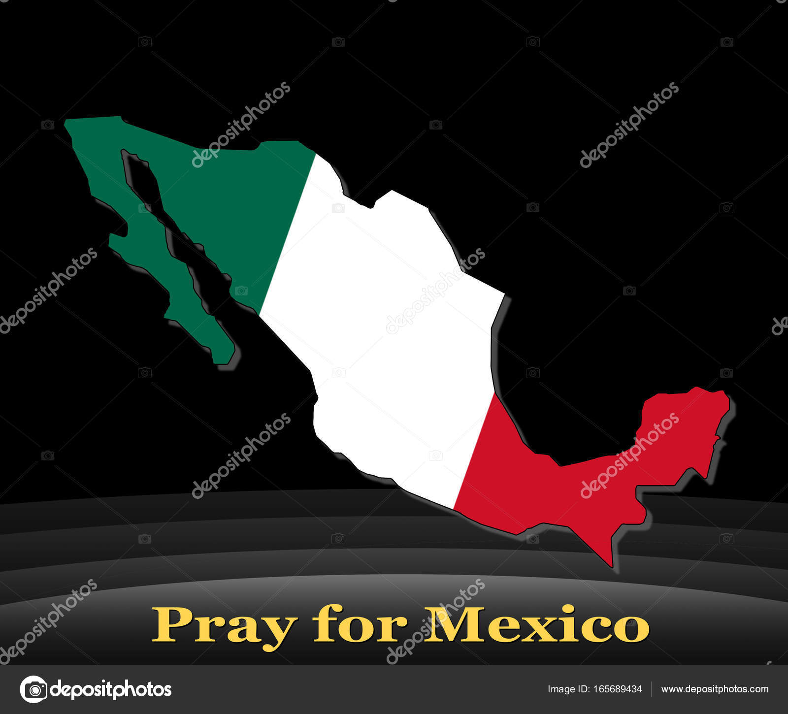 mexico flag color on abstract shape of country pray for mexico