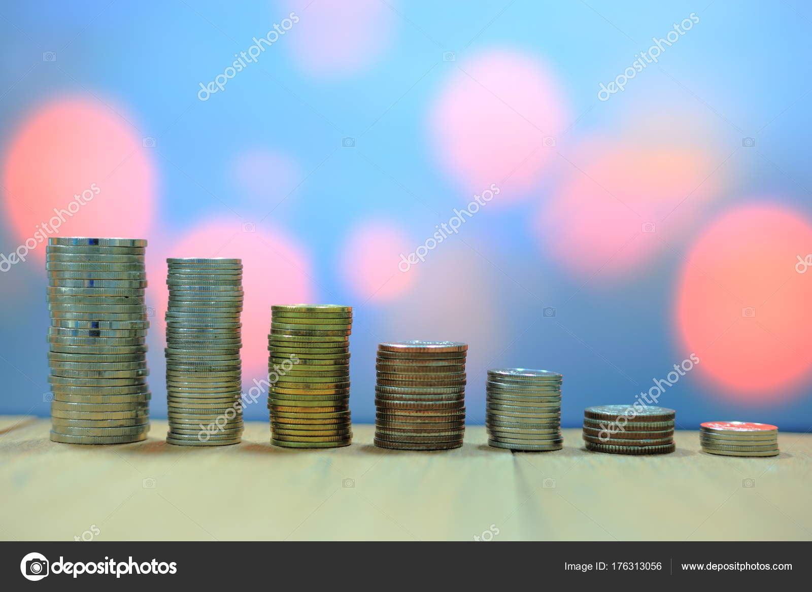 Increasing Chart Made Coins Coin Stacked Tower Wooden Board