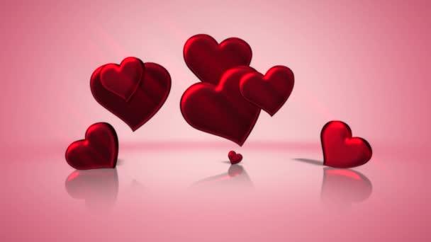Animation Nahaufnahme Bewegung romantische Herzen am Valentinstag glänzenden Hintergrund