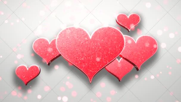 Animation closeup motion romantic hearts on Valentine day shiny background