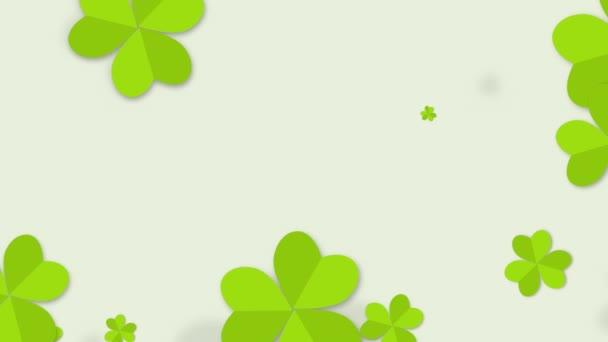 Motion green shamrocks, St Patricks Day animation background