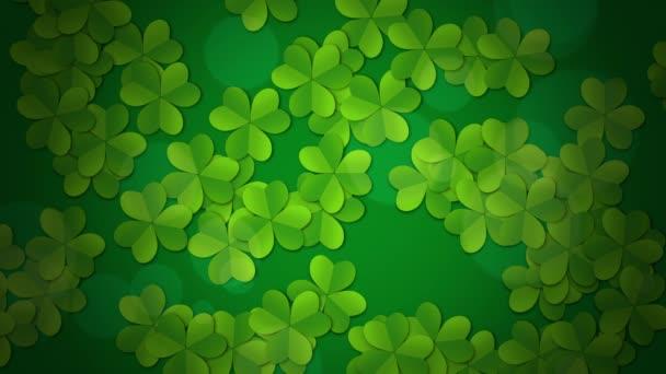 Motion green shamrocks, St Patricks Day animace pozadí