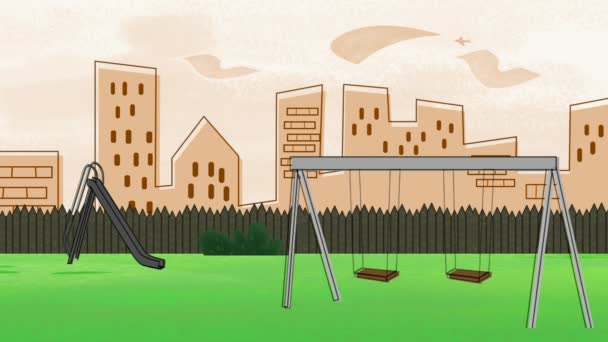 Cartoon animation background with buildings and park of city, abstract backdrop