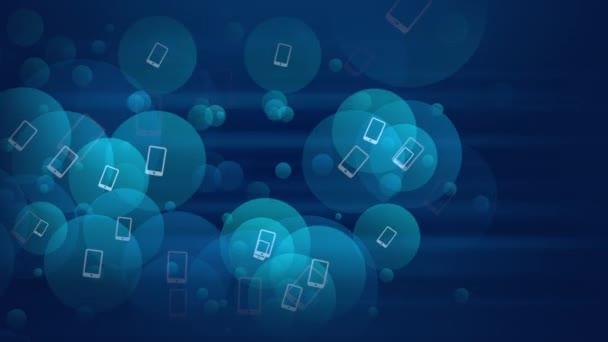 Motion Smartphone ikony na jednoduchém síťovém pozadí