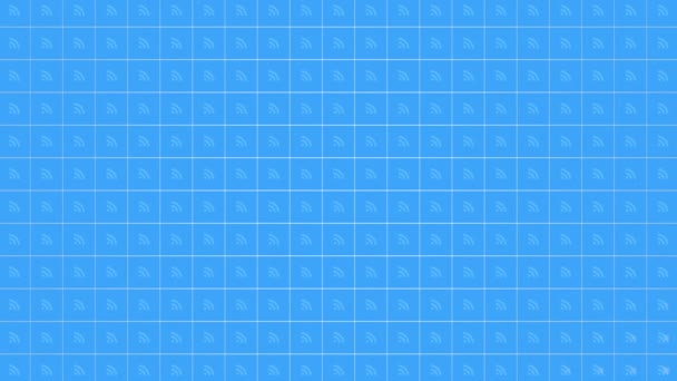 Ikony pohyblivého kanálu na jednoduchém síťovém pozadí