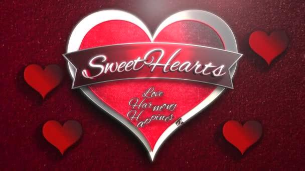 Animované detailní Sweet Hearts text a pohyb romantické srdce na Valentýna lesklé pozadí