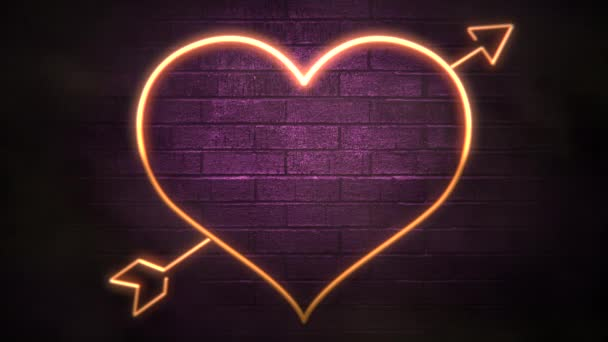 Animation closeup motion romantic heart on Valentine day shiny background