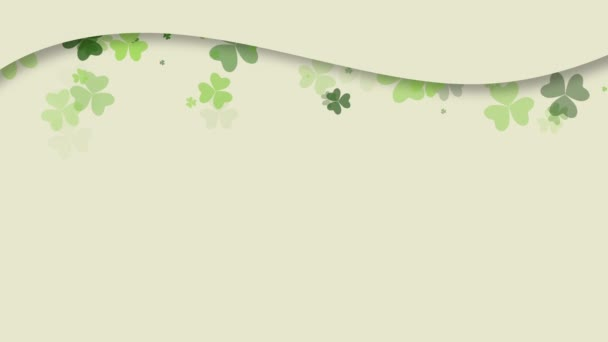 Animation Saint Patricks Day holiday background with motion green shamrocks