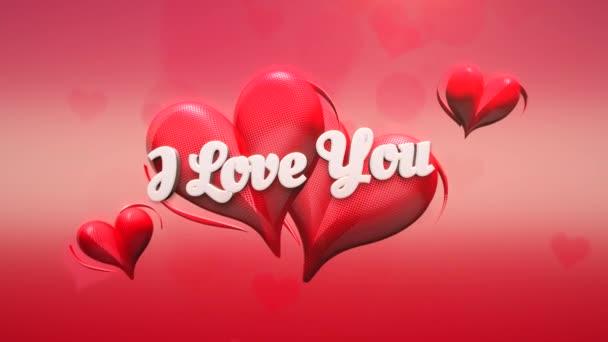 Animované detailní Miluju tě text a pohyb romantické srdce na Valentýna lesklé pozadí