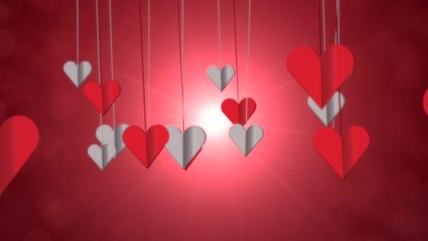 Animace detailní pohyb romantické srdce na Valentýna lesklé pozadí