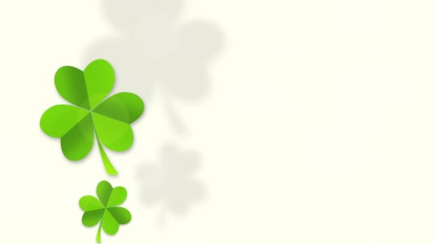 Motion green shamrocks, Saint Patrick Day animation background