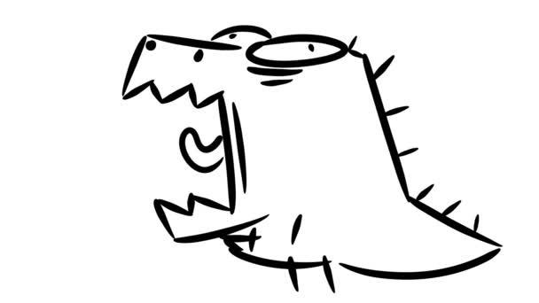 Malý dinosaurus se protahuje. Roztomilý malý dino řev