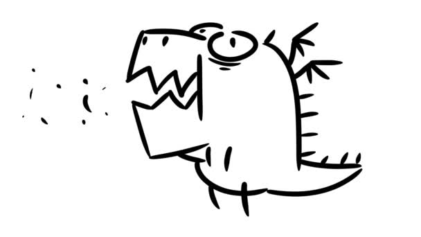 Cute cartoon little dragon. Cartoon animation.