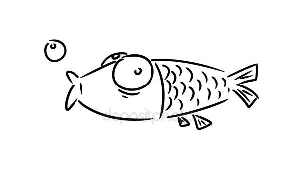 Funny cartoon fish. Hand drawn cartoon animation.