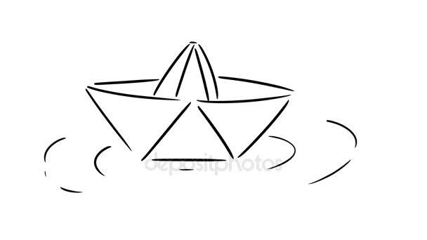 Barca di carta del fumetto galleggianti in un po acqua