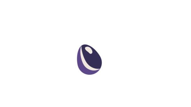 Ostereierschütteln. Schleife Veilchen Ei Animation. flacher Animationsstil.