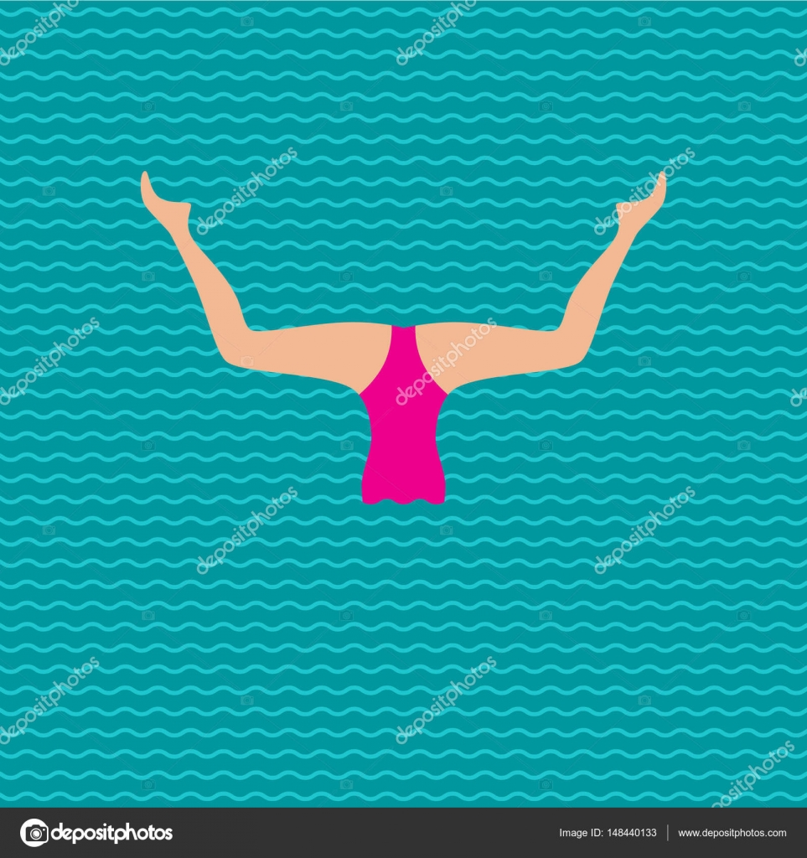 8147d390674a Rendimiento de natación sincronizada — Vector de stock ...