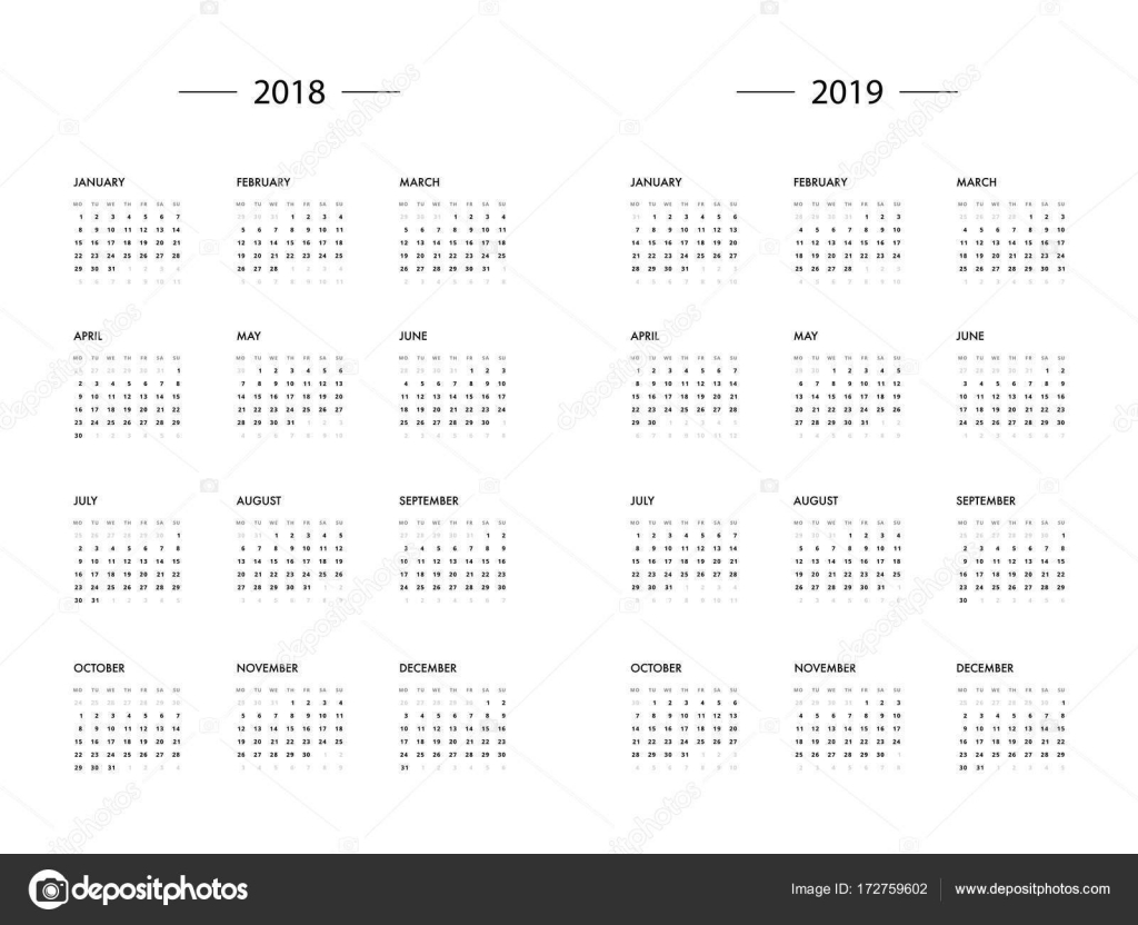 calendar 2018 2019 year template stock vector