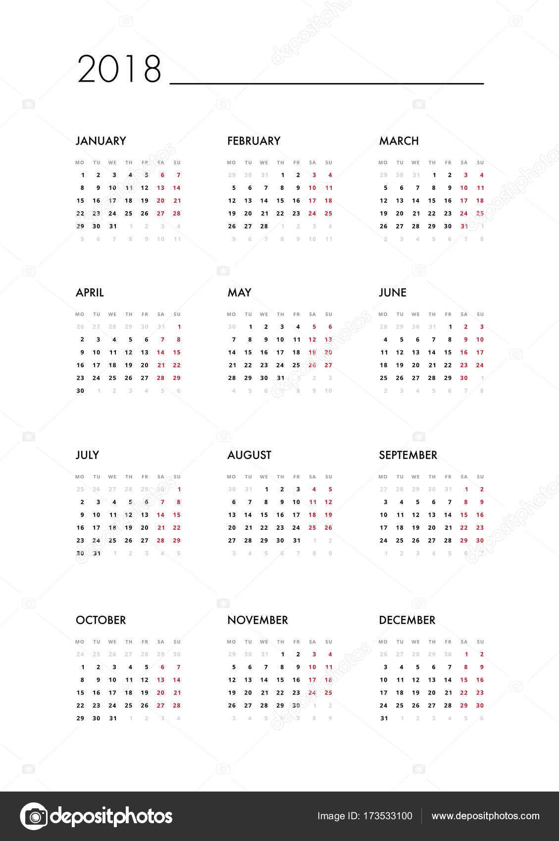 plantilla calendario 2018 — Archivo Imágenes Vectoriales ...